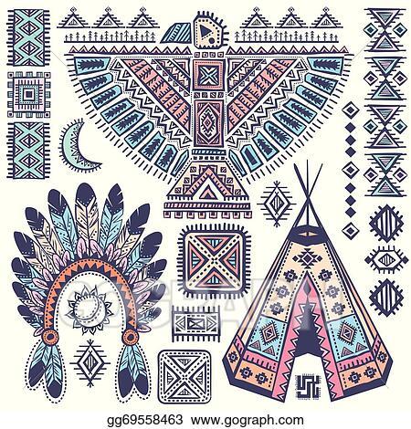 Vector Art Vintage Set Of Native American Symbols Eps Clipart