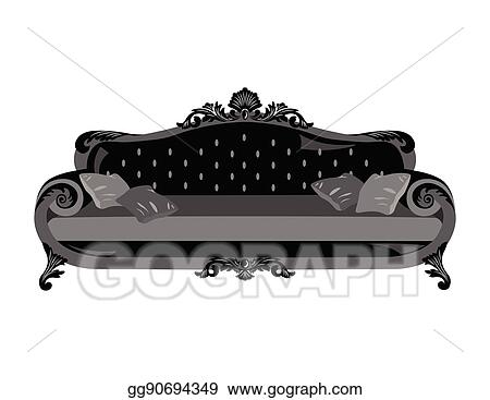 Vector Art Vintage Sofa Vector Eps Clipart Gg90694349 Gograph