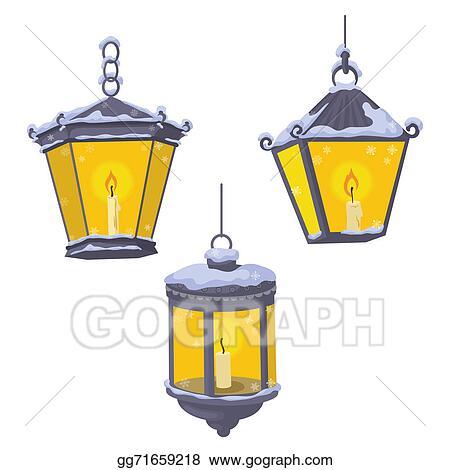 Vintage Street Lanterns In The Snow