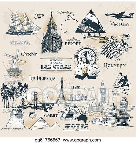 Eps Illustration Vintage Travel Symbols Vector Clipart Gg61766667 Rh Gograph Com Stickers Clip Art International
