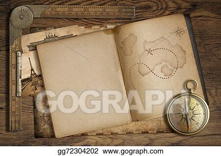 stock illustration vintage treasure map in open book with compass