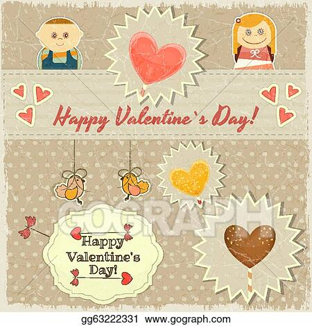 Vector Art Vintage Valentines Day Card With Sweet Hearts Clipart