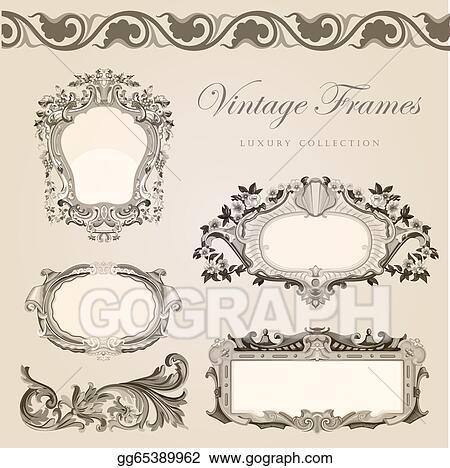 Vector art vintage vector frames border retro wedding invitation vintage vector frames border retro wedding invitation template stopboris Images