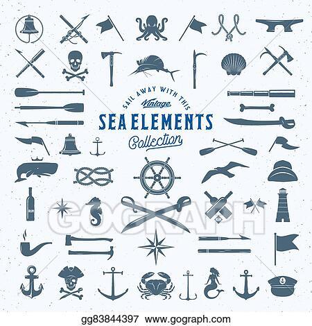 Vector Art Vintage Vector Sea Or Nautical Icon Symbol Elements Set