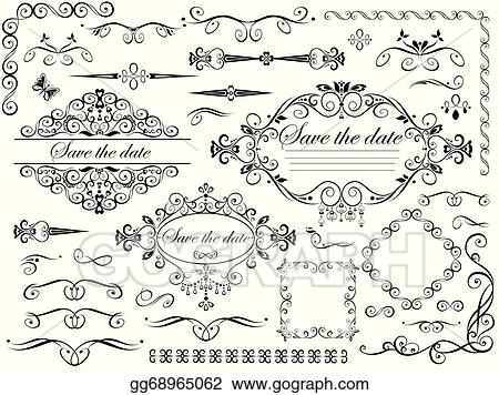 vector clipart vintage wedding design elements vector