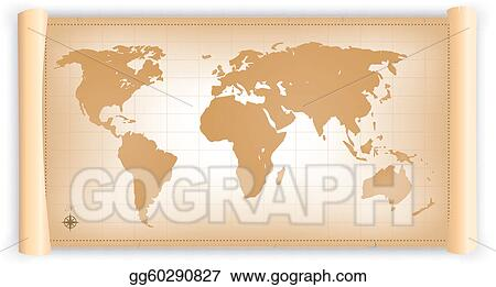 Vector illustration vintage world map on parchment scroll eps vector illustration illustration of an old world planisphere on a old parchment scroll eps clipart gg60290827 gumiabroncs Gallery