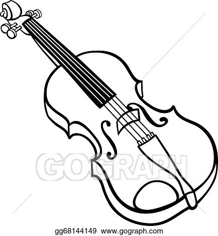 Vector Art Violin Cartoon Illustration Coloring Page Eps Clipart