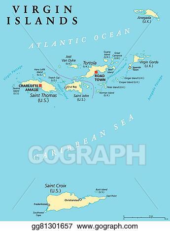 EPS Vector - Virgin islands political map. Stock Clipart ...