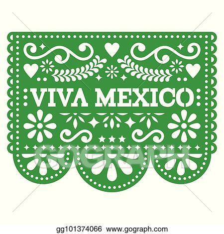 Clip Art Vector Viva Mexico Papel Picado Vector Design Mexican