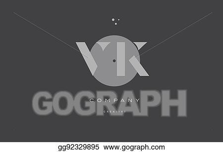 Vector Illustration - Vk v k grey modern alphabet company letter