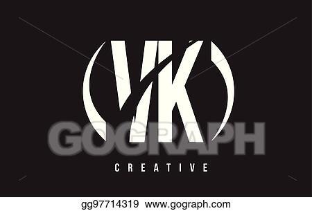 Vector Illustration Vk V K White Letter Logo Design With Black