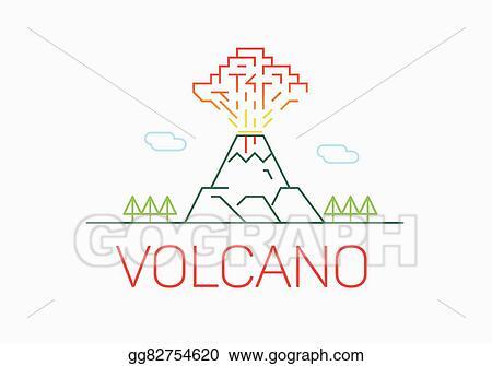 Vector stock volcano exploding thin line icon flat design logo volcano exploding thin line icon flat design logo elements maxwellsz