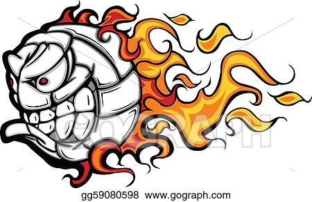 vector illustration volleyball ball flaming face vector stock rh gograph com