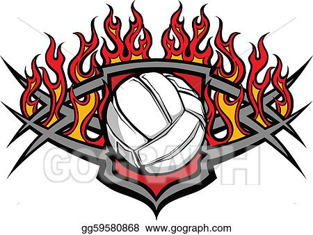 vector illustration volleyball ball template with flame stock rh gograph com