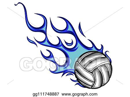Vector Art Volleyball Ball With Flames And Blue Fire Clipart Drawing Gg111748887 Gograph