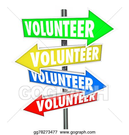 stock illustration volunteer arrow signs share donate time charity