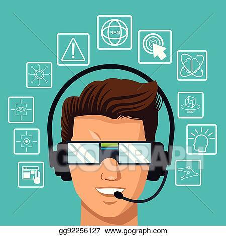Vector Art - Vr reality glasses man headset interface  EPS