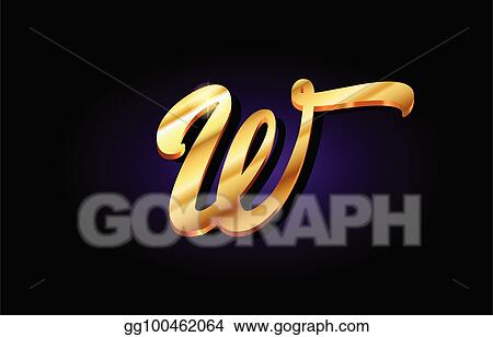 Eps Vector W Alphabet Letter Golden 3d Logo Icon Design Stock