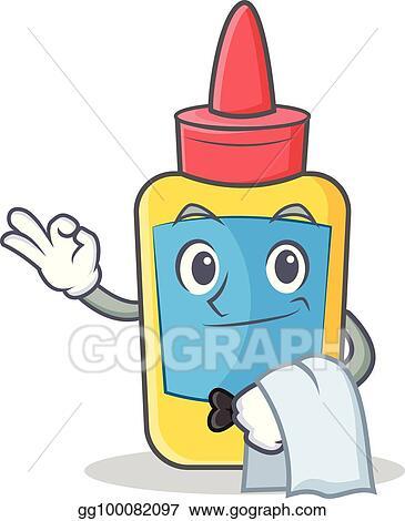 vector illustration waiter glue bottle character cartoon stock rh gograph com water clip art free wader clip art