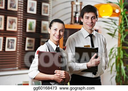 stock photo waitress girl and waiter man in restaurant stock
