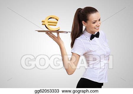 Stock Illustration - Waitress holding a tray with money ...