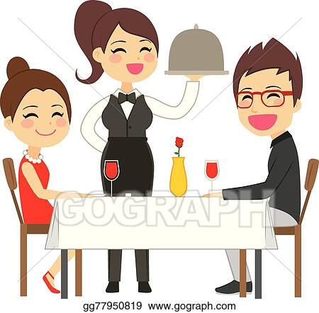EPS Vector - Waitress serving restaurant. Stock Clipart ...