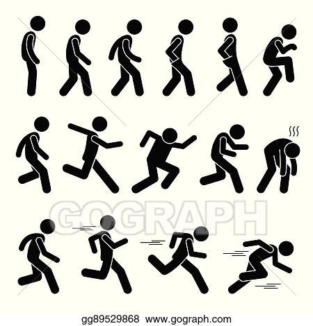 EPS Vector - Walking and running postures. Stock Clipart ...