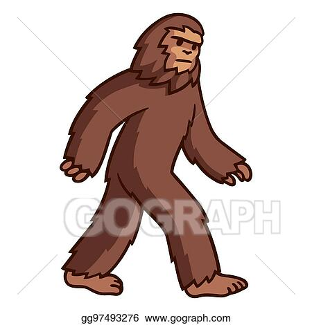 vector illustration walking bigfoot drawing eps clipart rh gograph com bigfoot clipart black and white bigfoot clipart free