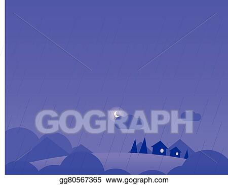 Vector Stock - Wallpaper landscape with village houses