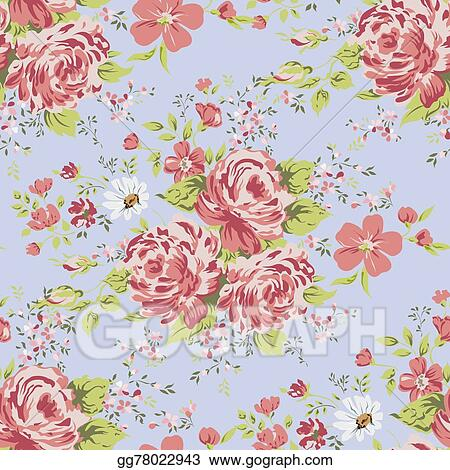 vector art wallpaper seamless vintage pink flower pattern on blue background eps clipart gg78022943 gograph https www gograph com clipart license summary gg78022943