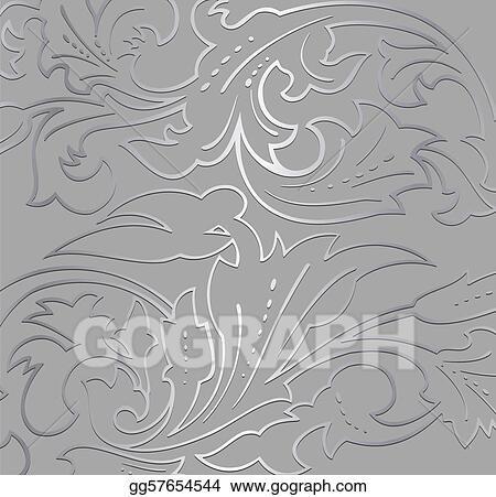 Vector Clipart Wallpaper Silver Floral Background Vector