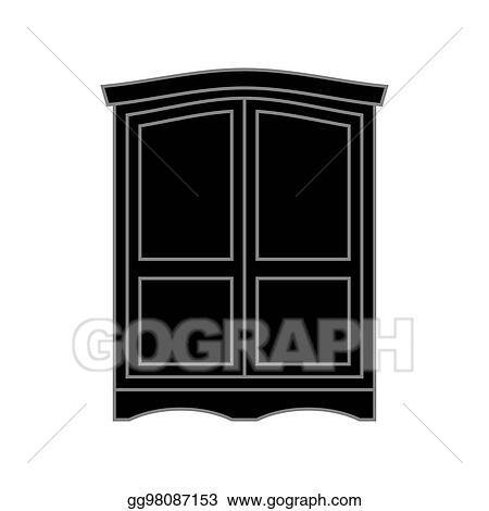 Wardrobe clipart black and white  Vector Clipart - Wardrobe black retro. furniture for clothes ...