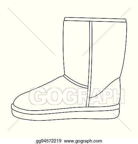 Clip Art Vector , Warm winter blue ugg boots. comfortable