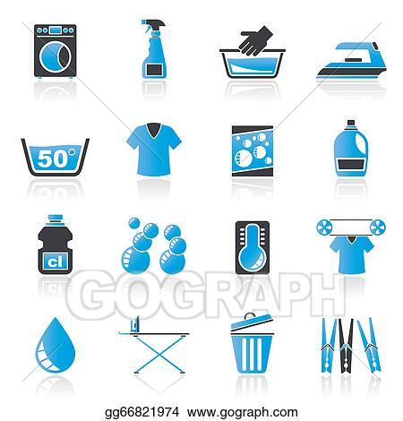 vector illustration washing machine and laundry icons stock clip