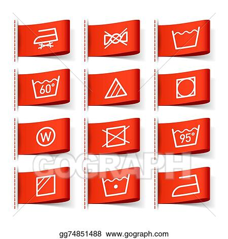 Vector Stock Washing Symbols On Clothing Labels Clipart