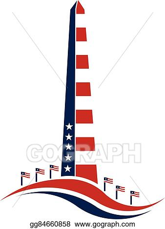 vector illustration washington monument stars and stripes concept rh gograph com