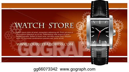 Vector Stock - Watch store card vector  Clipart Illustration