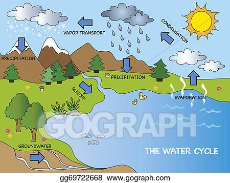stock illustrations water cycle stock clipart gg69722668 gograph rh gograph com free water cycle clipart Transpiration Clip Art