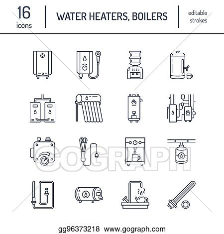 water heater boiler thermostat electric gas solar heaters and other house heating equipment line icons thin linear pictogram with editable strokes for hardware store household appliances signs_gg96373218 eps illustration water heater, boiler, thermostat, electric, gas