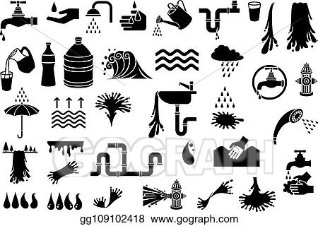 Vector Stock - Water icons vector set (design elements - watering