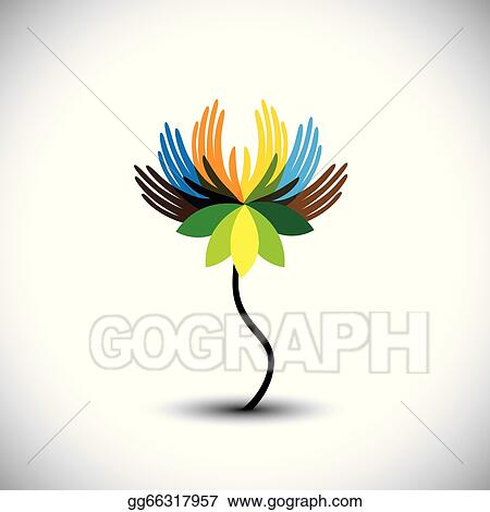 Clip art vector water lilylotus flower with petals as hands in water lilylotus flower with petals as hands in rainbow colors vector graphic this illustration consists of human hands together showing concepts of mightylinksfo