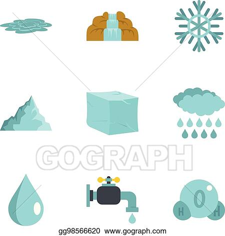 Vector Stock - Water natural form icon set, flat style  Stock Clip