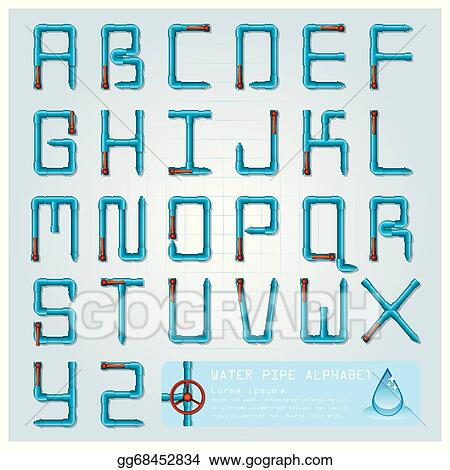 vector art water pipe alphabet character design template clipart
