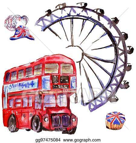 stock illustration watercolor london illustration great britain