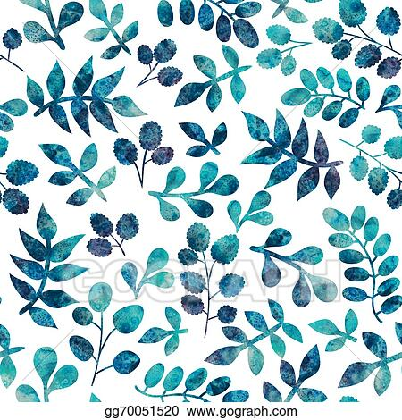 Stock Illustration Watercolor Seamless Pattern On Leaves Theme
