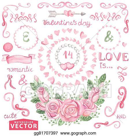 Vector Illustration Watercolor Valentine S Day Wedding Set Pink