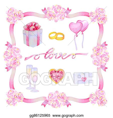 Drawings - Watercolour love set. Stock Illustration gg86125965 - GoGraph
