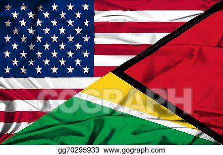 Stock Illustration - Waving flag of guyana and usa  Clipart
