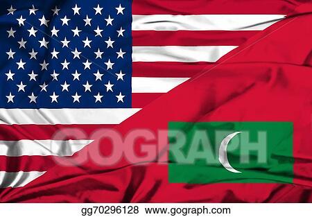 Waving Flag Of Maldives And Usa