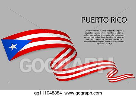 Vector Illustration - Waving ribbon or banner with flag  EPS